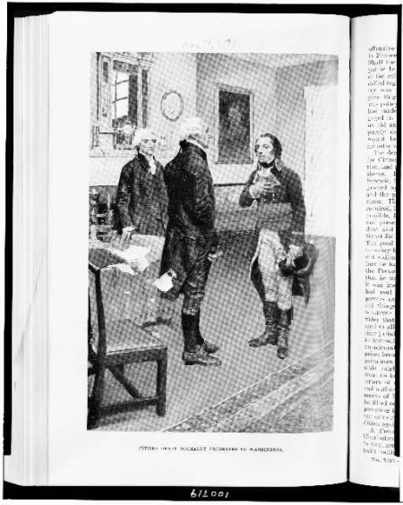 Citizen Genet formally presented to Washington, by Howard Pyle, ca. 1897, [Illus. in AP2.H3]. Courtesy Library of Congress