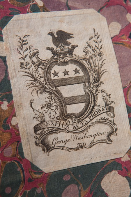 Washington bookplate inside the cover of the Acts of Congress (Mount Vernon Ladies' Association)