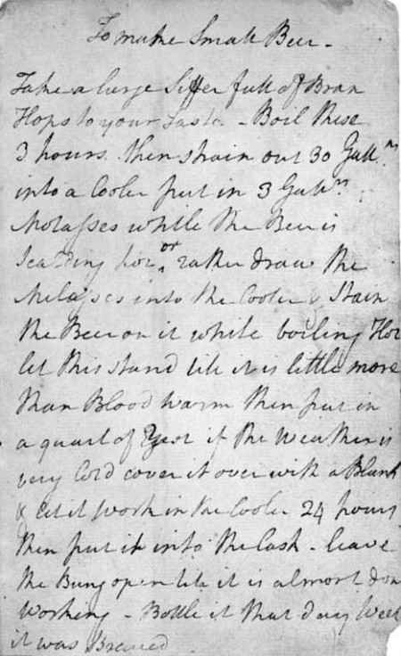 George Washington's Recipe for Small Beer, ca. 1757. (Courtesy New York Public Library)