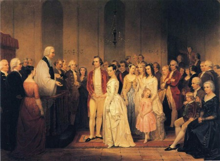 Artist Junius Brutus Stearns depicts The Marriage of George Washington to Martha Custis