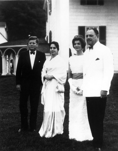 President John F. Kennedy and Mrs. Jacqueline Kennedy with President Mohammad Ayub Khan of Pakistan and his daughter, Naseem Akhtar Aurangzeb (MVLA)