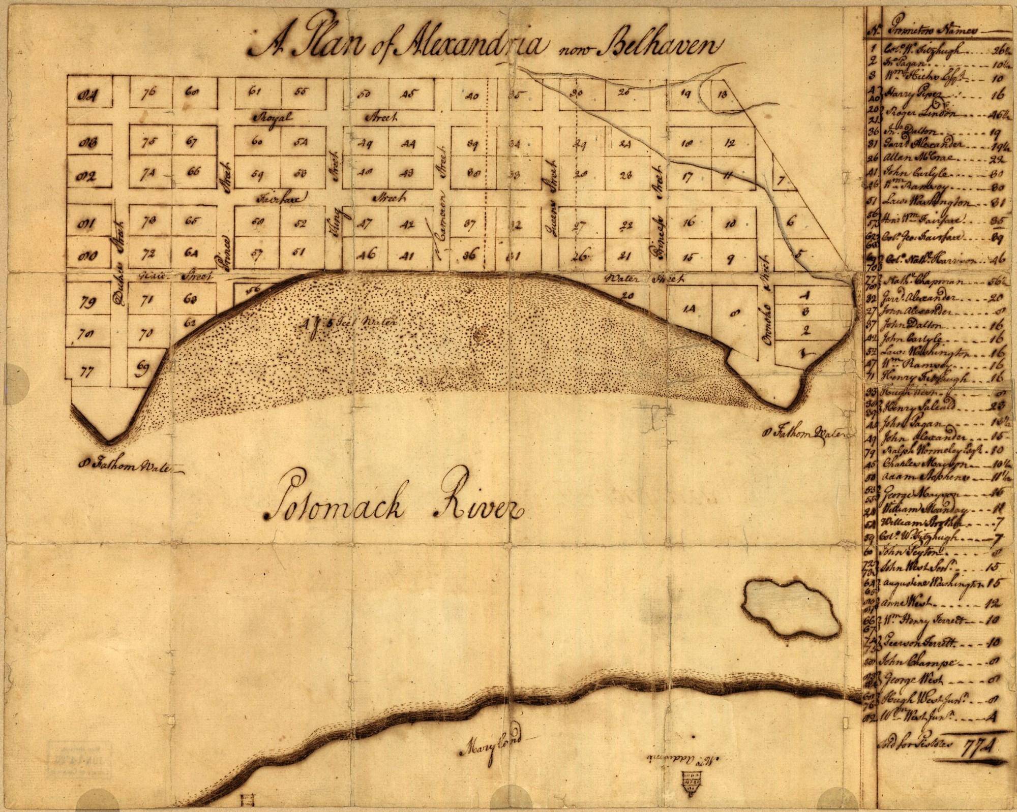 Mt Vernon Washington Map.A Plan Of Alexandria Now Belhaven George Washington S Mount