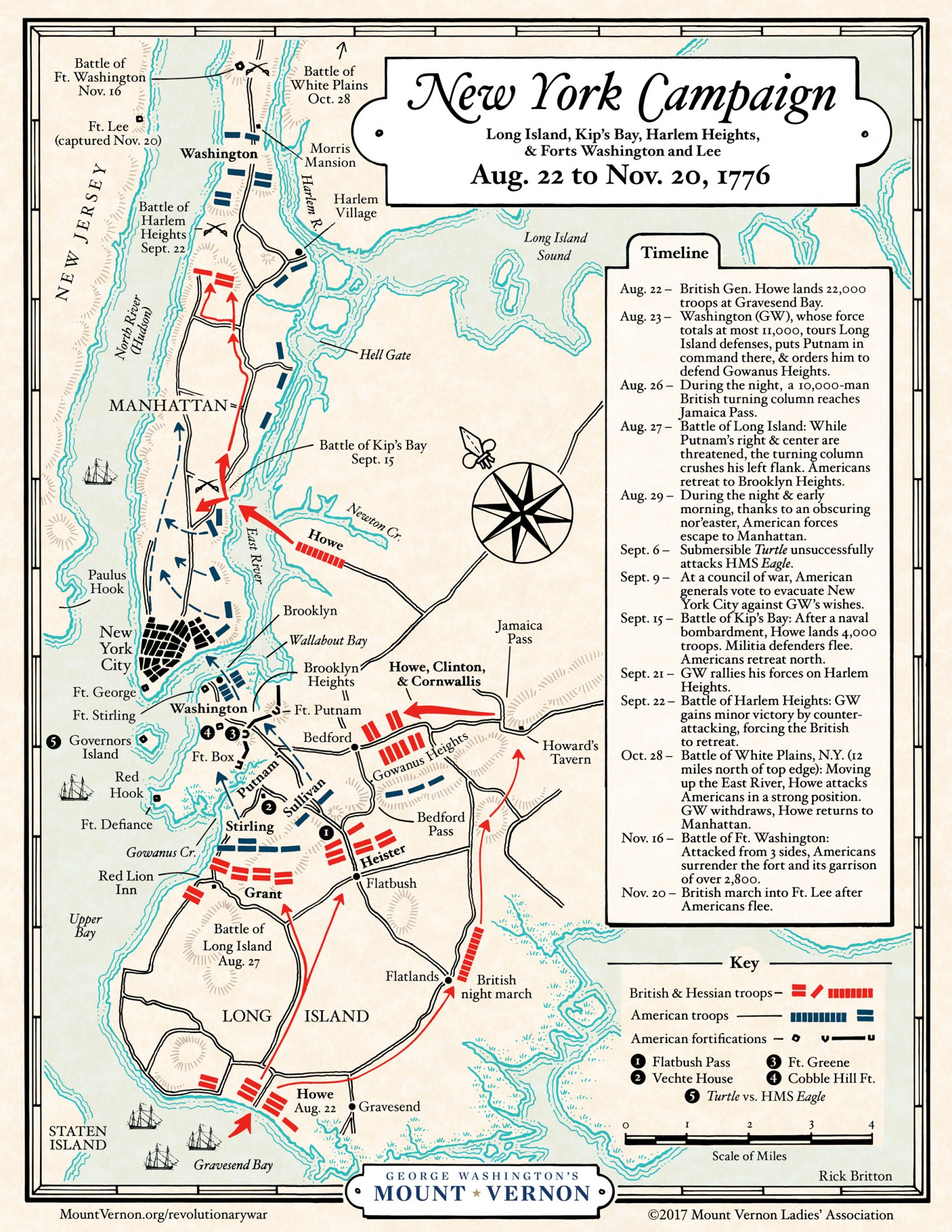 Map The 1776 New York Campaign George Washingtons Mount Vernon