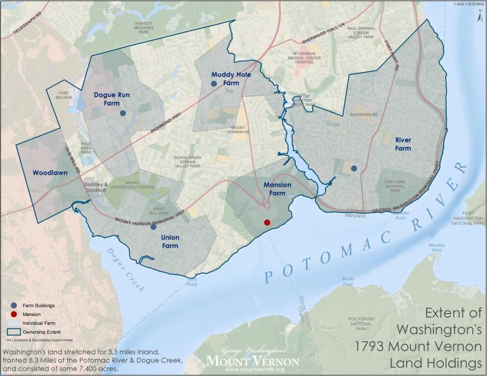 Mount Vernon Map Extent of Washington's 1793 Mount Vernon Land Holdings · George  Mount Vernon Map
