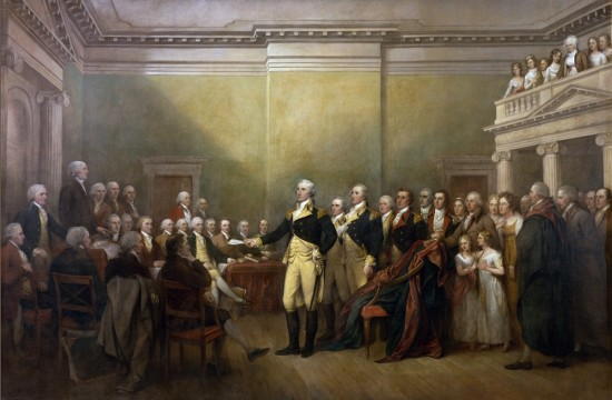 Washington surrenders his commission to Congress