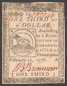 Colonial paper money from 1776 (Wikimedia)