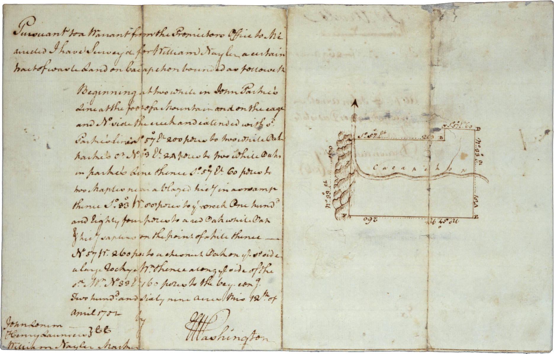 "Washington's 1751 survey of ""A certain tract of waste land"" on the Cacapon River, situated on what is now the northwest border of West Virginia and Virginia. [CT-6551-3]"
