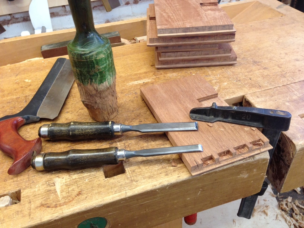 Cutting dovetails for the multiple drawers on the reproduction dressing table. Courtesy Harrison Higgins, Inc., Richmond, Virginia.