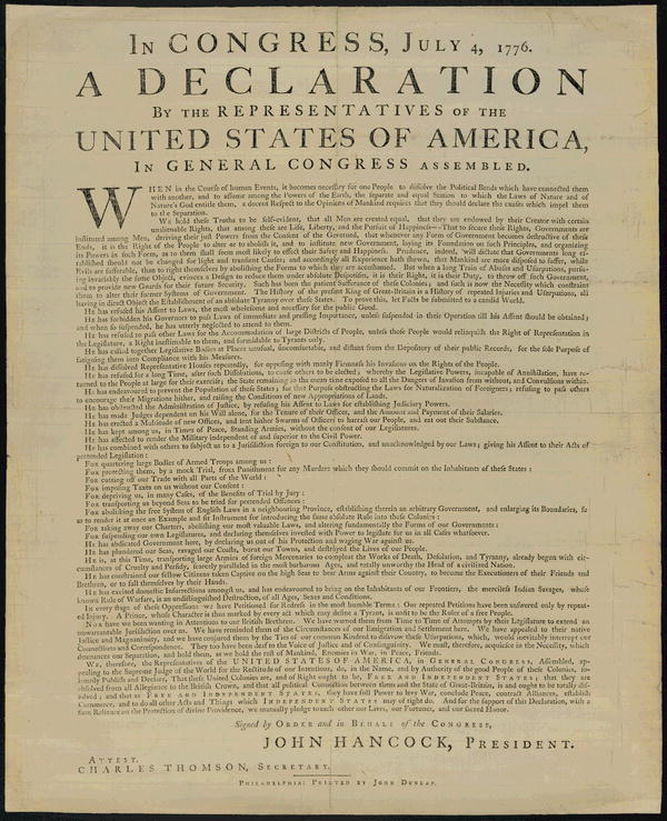Broadside of the Declaration, ordered printed by Congress, July 4, 1776. Printed by John Dunlap, Philadelphia. From the Library of Congress.