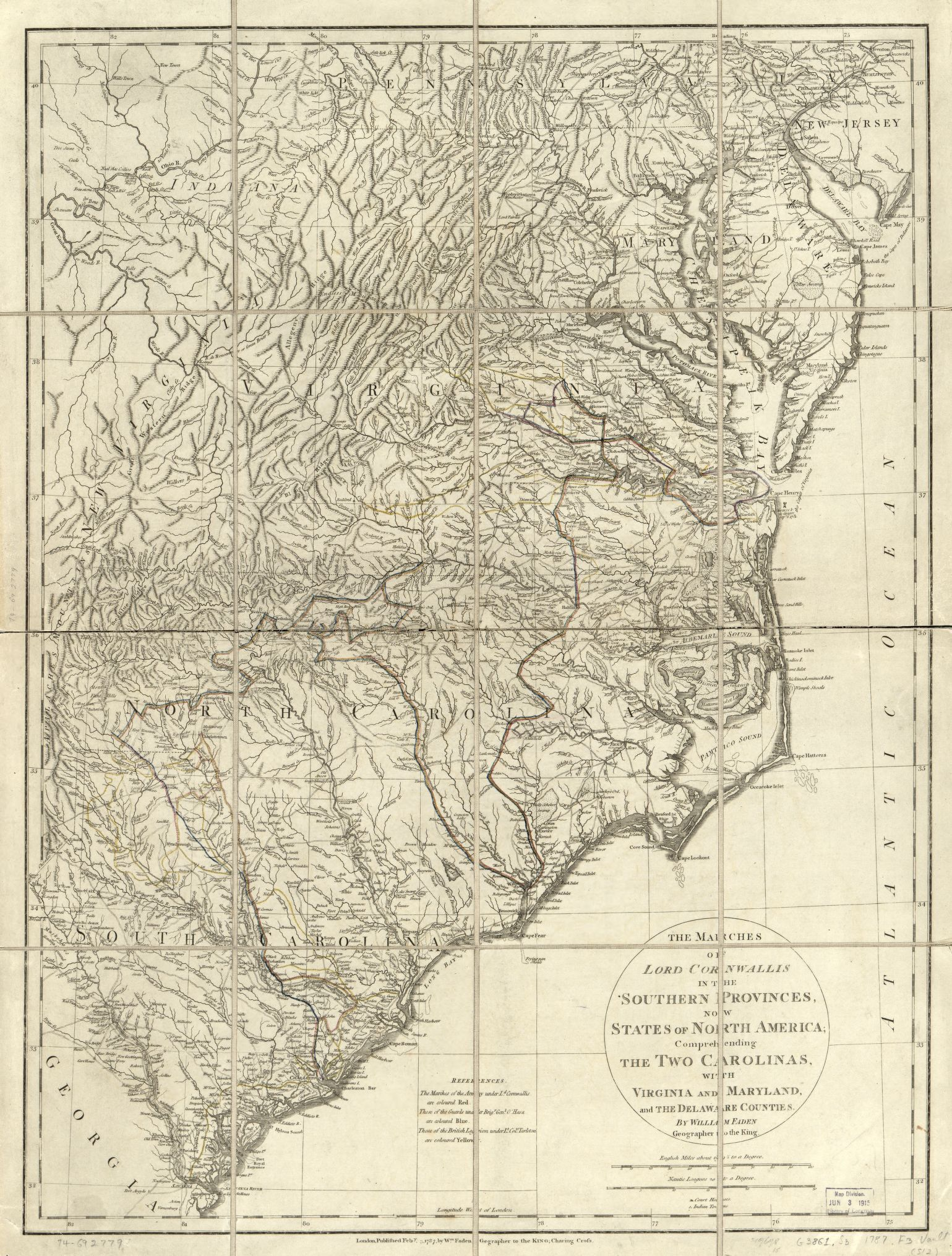 The marches of Lord Cornwallis in the Southern Provinces, now States of North America; comprehending the two Carolinas, with Virginia and Maryland, and the Delaware counties. Courtesy Library of Congress [G3861.S3 1787 .F3]