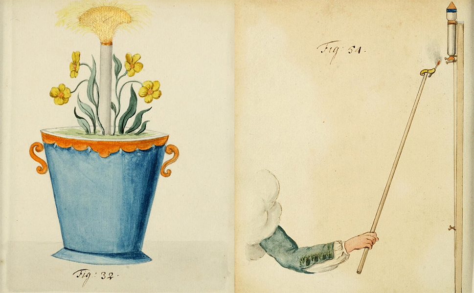Left: Although it looks like a plant from a Dr. Seuss story, this illustration is a Roman Candle disguised as a pot.