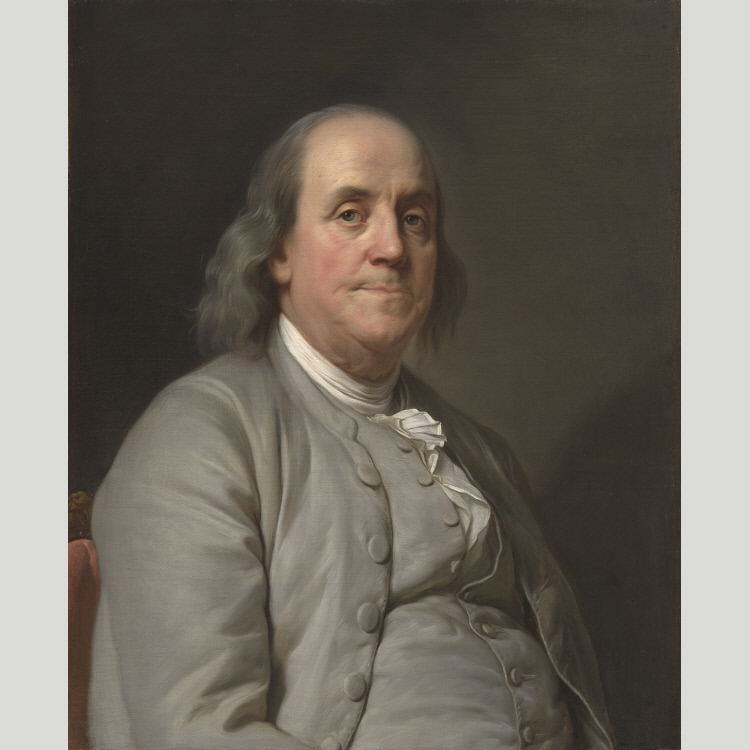 Benjamin Franklin by Joseph Siffred Duplessis, c. 1785. National Portrait Gallery number NPG.87.43