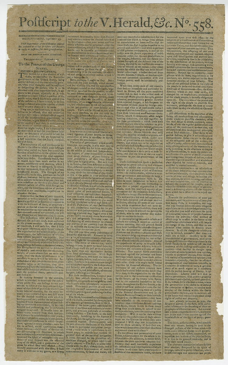 Printed copy of Washington's Farewell Address published in the Vermont Herald.