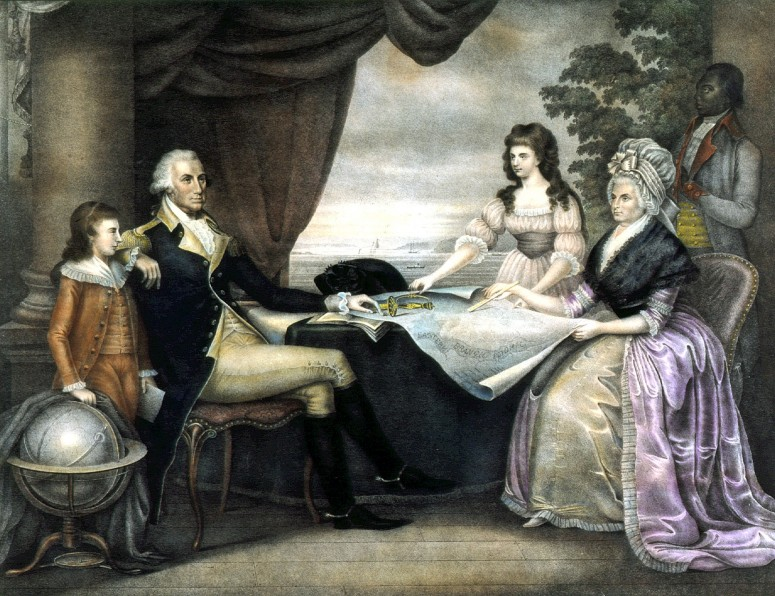 Throughout George Washington's presidential years, he had the comforting presence and constant support of his family. Edward Savage's most famous work, The Washington Family, shows George and Martha with Mrs. Washington's two grandchildren, Eleanor (Nelly) Parke Custis and George Washington (Washy) Parke Custis.