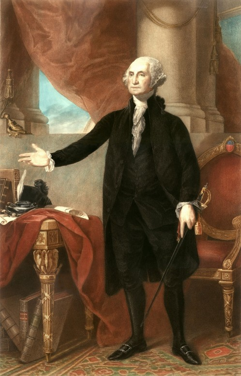 George Washington, engraving by G. Petit after Lansdowne portrait by Gilbert Stuart, c. 1900 (Mount Vernon Ladies' Association)