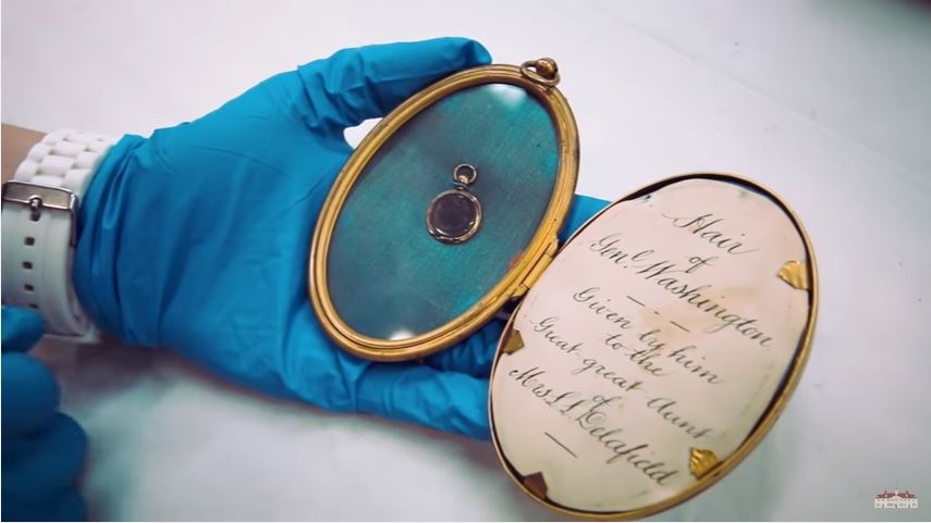 A locket with the hair of George Washington inside it. Giving someone a locket of hair was a sign of friendship.