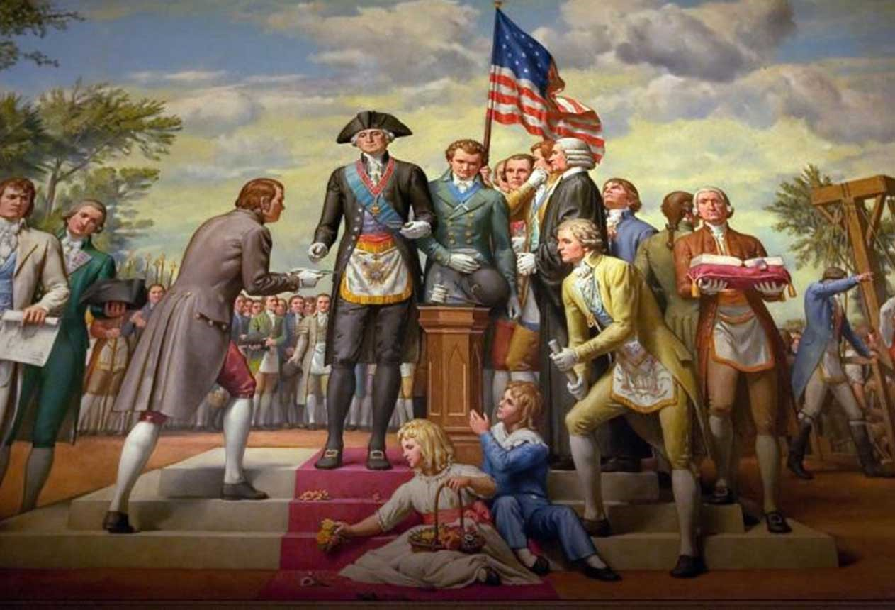 One of three murals in Memorial Hall painted by Allyn Cox in the 1950s. This one depicts George Washington in full Masonic regalia as he lays the cornerstone of the US Capitol (Ron Cogswell)