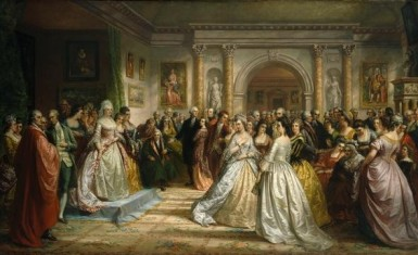 This 1861 painting by noted American portraitist Daniel Huntington was titled The Republican Court. (When it was published as a mass-marketed engraving, the title was changed to Lady Washingtonn's Reception.) The painting is an idealized portrayal of the weekly gatherings hosted by Martha Washington during the years of George Washington's presidency (Brooklyn Museum of Art).