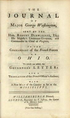 Cover page of George Washington's published account of his journey into the Ohio Country. (Mount Vernon Ladies' Association)