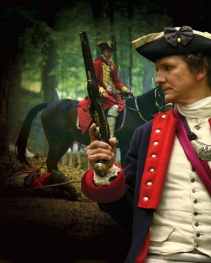 Scene from Mount Vernon's We Fight to Be Free movie showing Washington at the Battle of the Monongahela (Mount Vernon Ladies' Association)