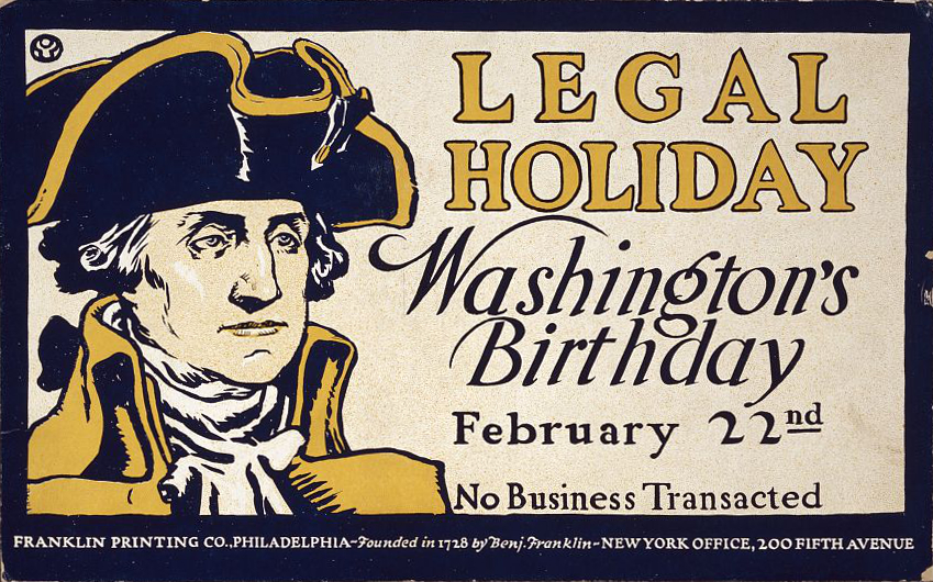 A card printed for Washington's birthday in the late 1800's by the Franklin Printing Co. (Wikipedia)