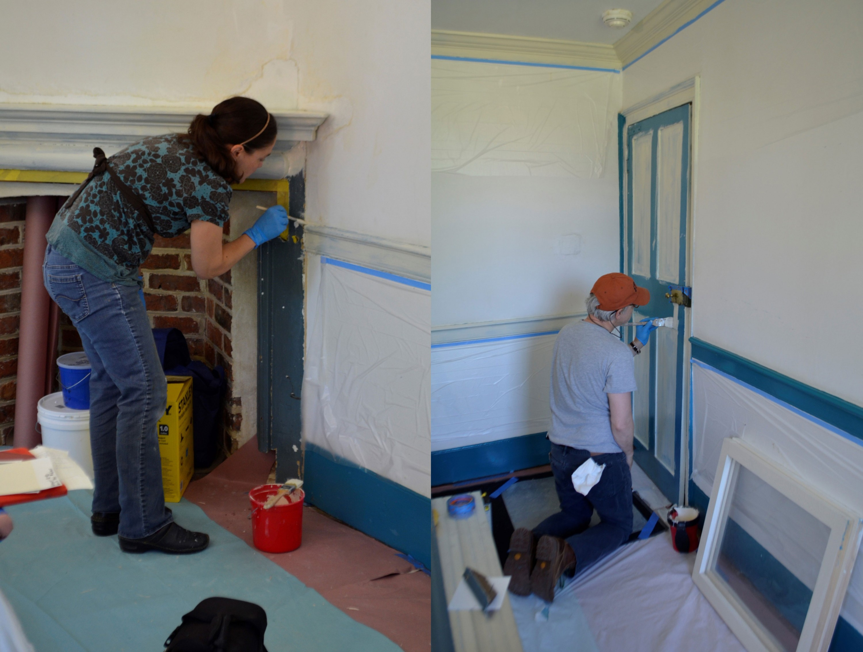 Left: Paint Specialist Erika Sanchez-Goodwillie priming the chair rail and mantel. Right: Architectural Conservator Chris Mills priming the door