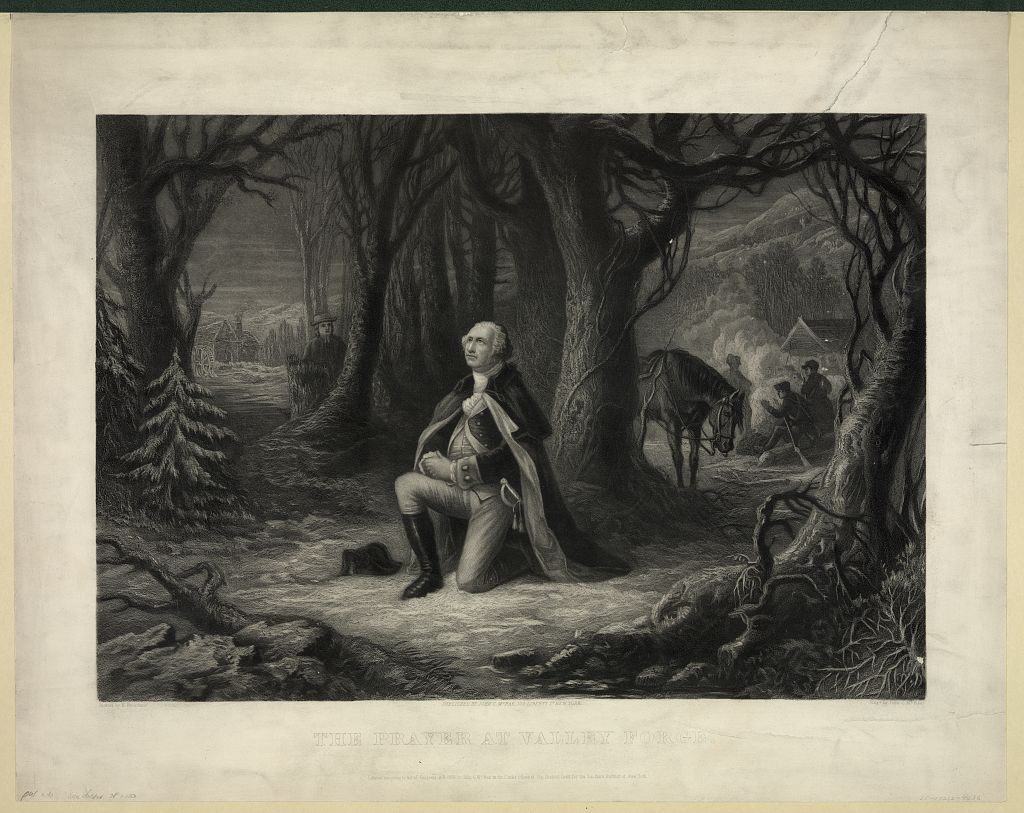"Clement Biddle's descendant depicted Washington in his poem as a strong and courageous leader. Another nineteenth century depiction that glorified Washington's moral character was Brueckner's ""Prayer at Valley Forge."" While there is no contemporary evidence that Washington did pray in such a way, the image appealed to nineteenth century sensibilities. ""The Prayer at Valley Forge,"" painted by Henry Brueckner, engraved by John McRae, 1866. Library of Congress control number 2009633684."