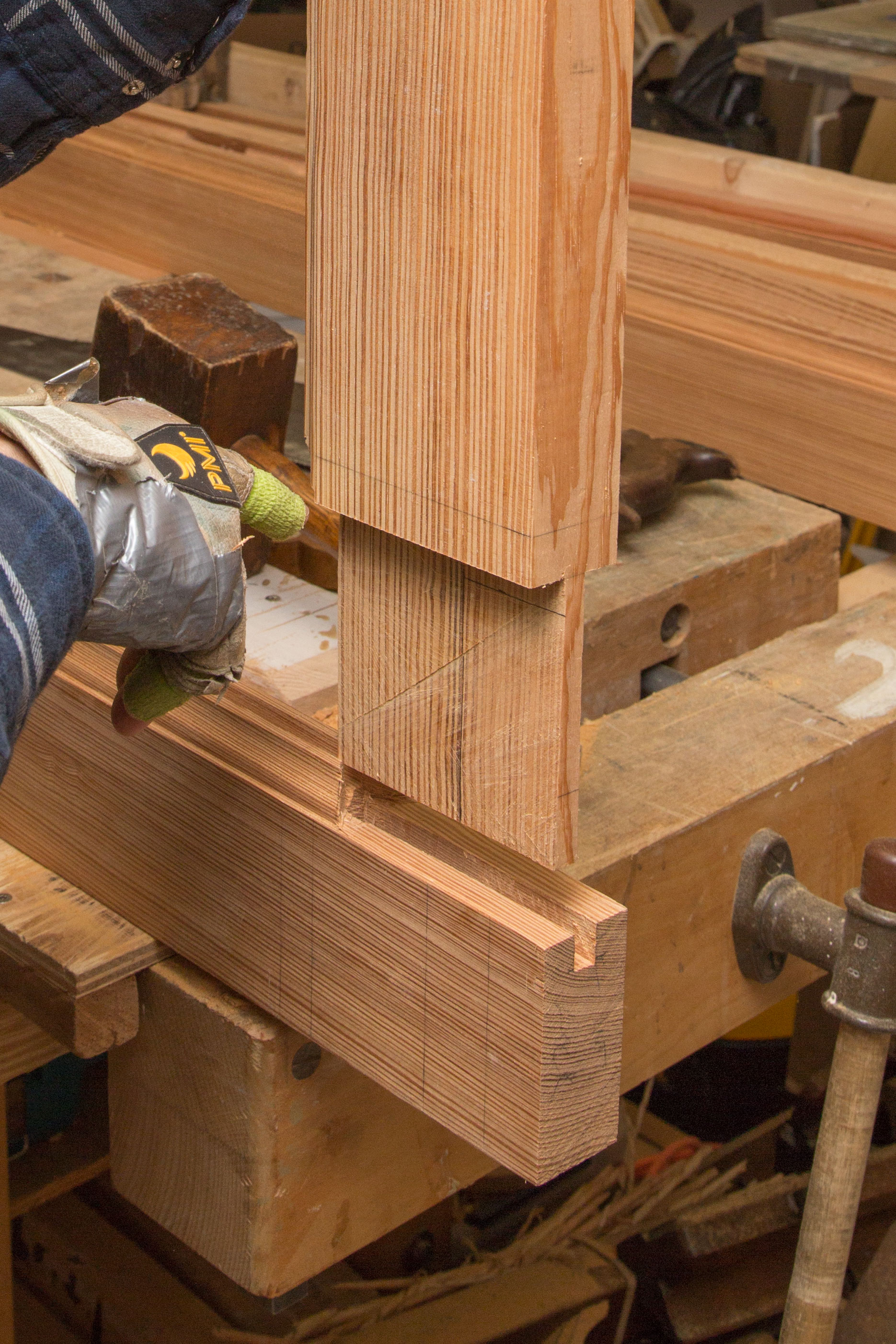 A mortise and tenon joint.