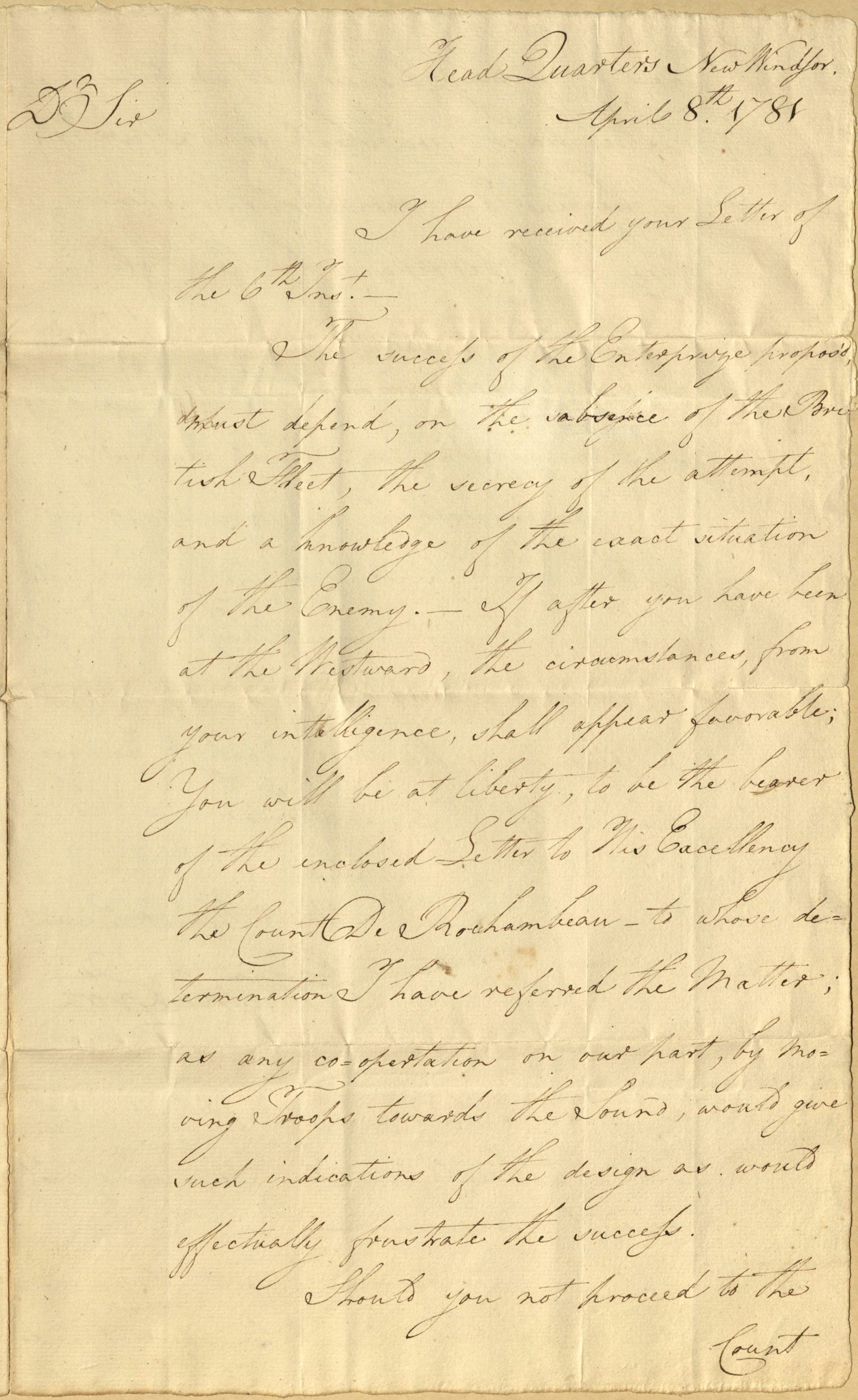 From George Washington to Benjamin Tallmadge, 8 April 1781 - Gift of Alexander B. Trevor, direct descendant of Benjamin Tallmadge, 2015.