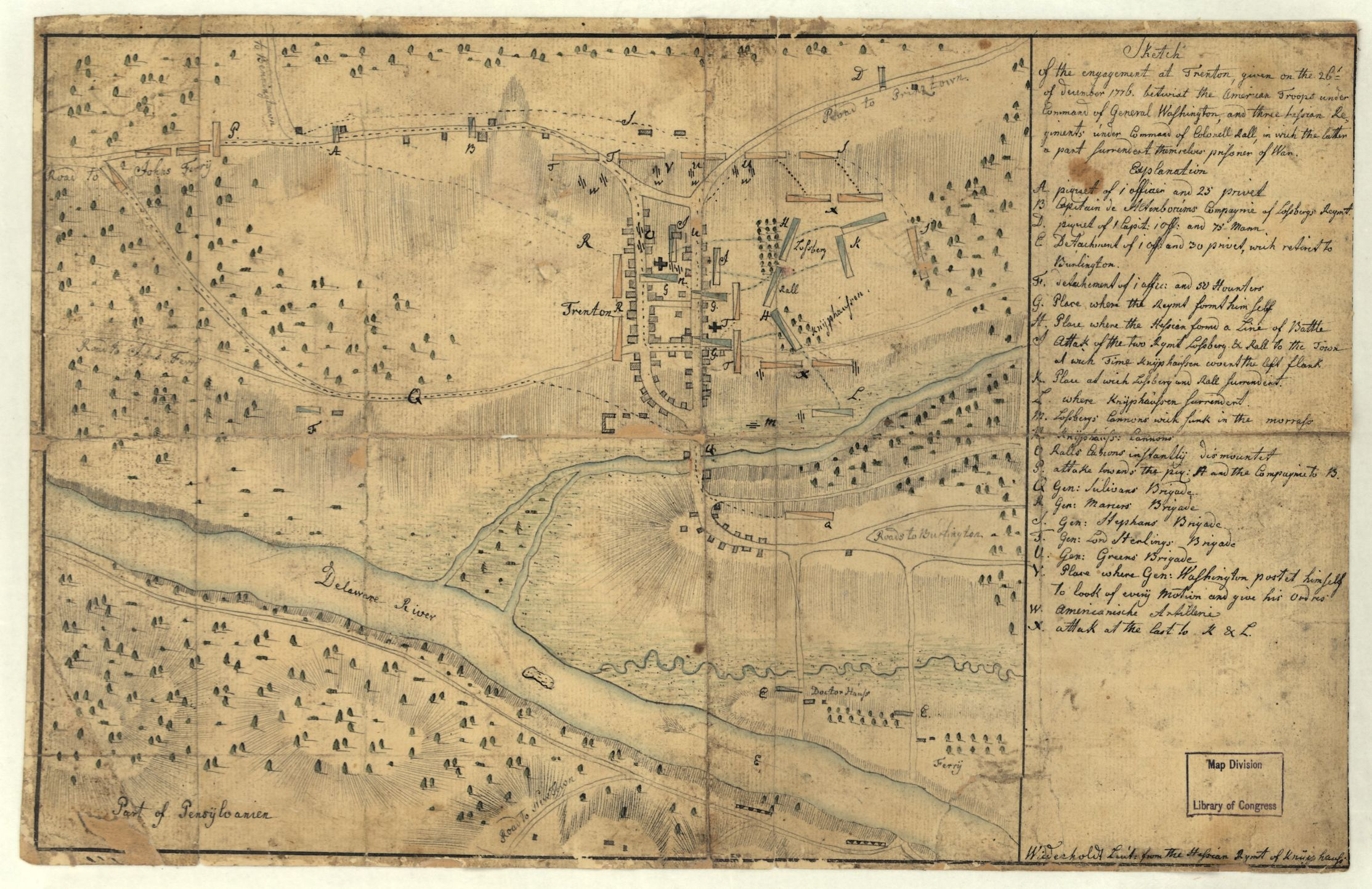 This map from Andreas Wiederholdt, c. 1776, shows the engagement at Trenton. Library of Congress call number G3814.T7S3 1776 .W5
