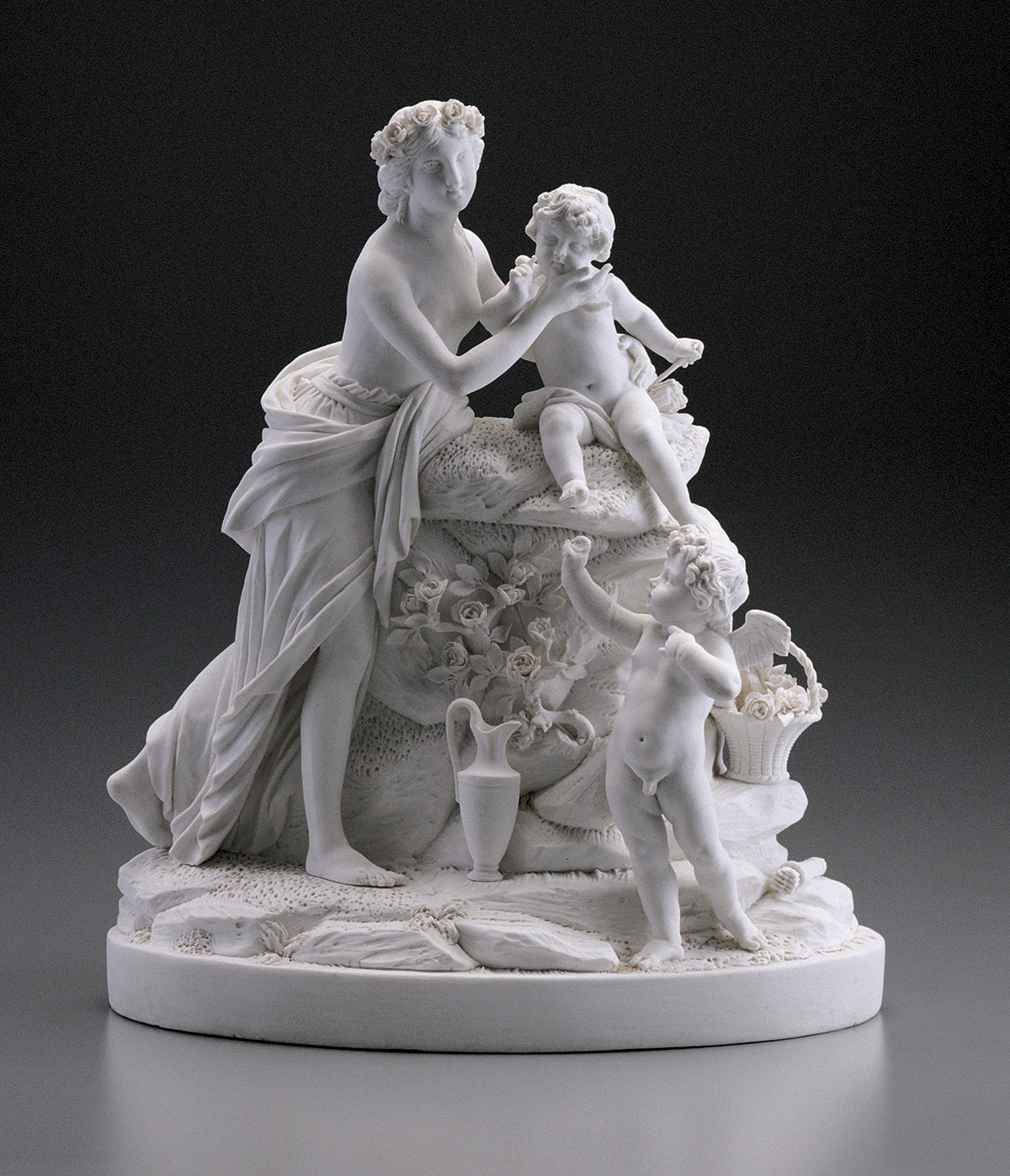 The smooth surfaces of unglazed biscuit porcelain mimic the purity of classical sculpture and made it a fashionable choice for table ornaments in the second half of the eighteenth century. (MVLA)