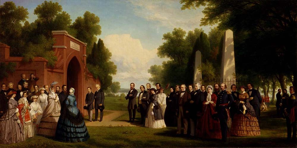 President Buchanan and the British Prince of Wales visit George Washington's tomb in October 1860, painting by James Rossiter (Smithsonian American Art Museum)