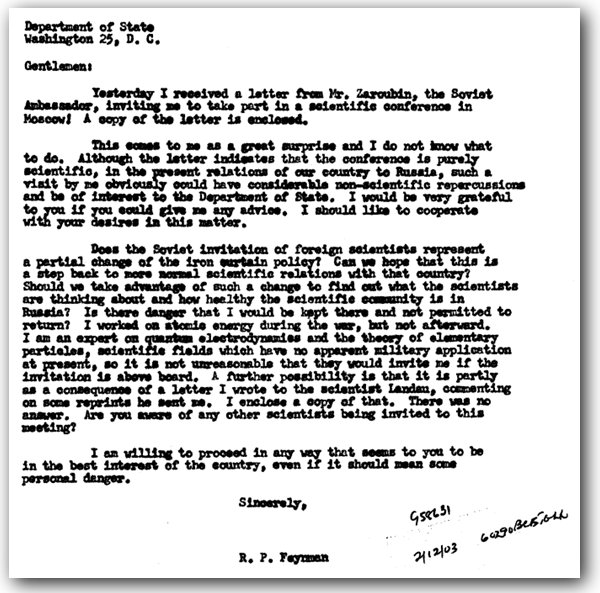 A letter from Feynman to the State Department regarding an invitation to the USSR.