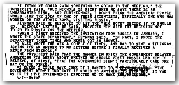 FBI files describing Feynman's frustrated attempts at gathering information.