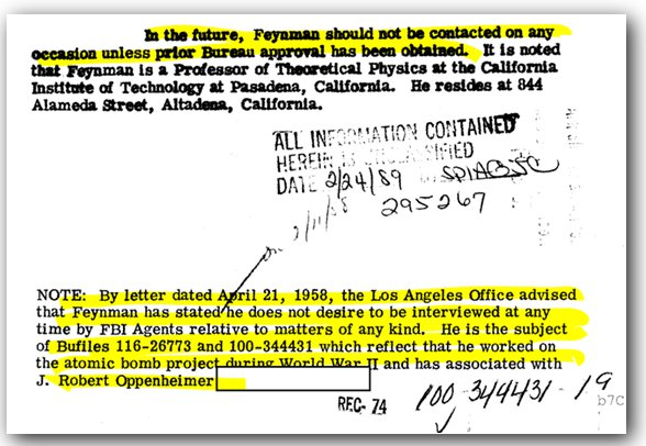 An FBI notice stating Feynman is not to be contacted without prior authorization.