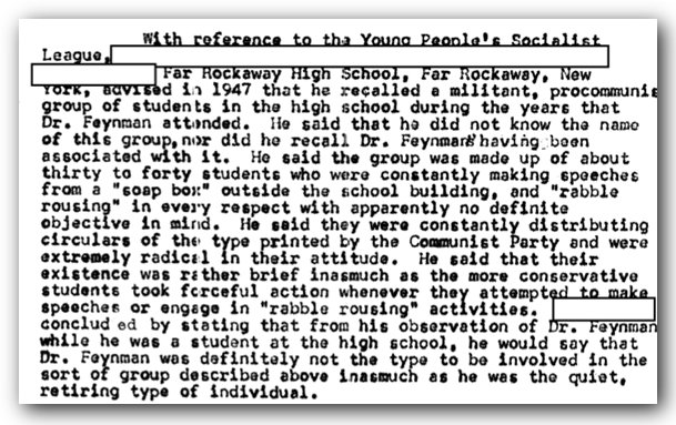 FBI records on Richard Feynman's young socialistic tendancies