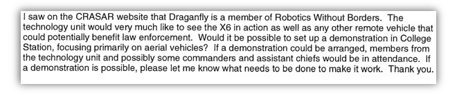 An e-mail from an Austin, TX officer requesting more information about a drone program.