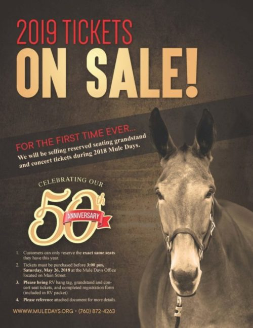 2019 50th Anniversary Tickets on Sale during 2018 Mule Days