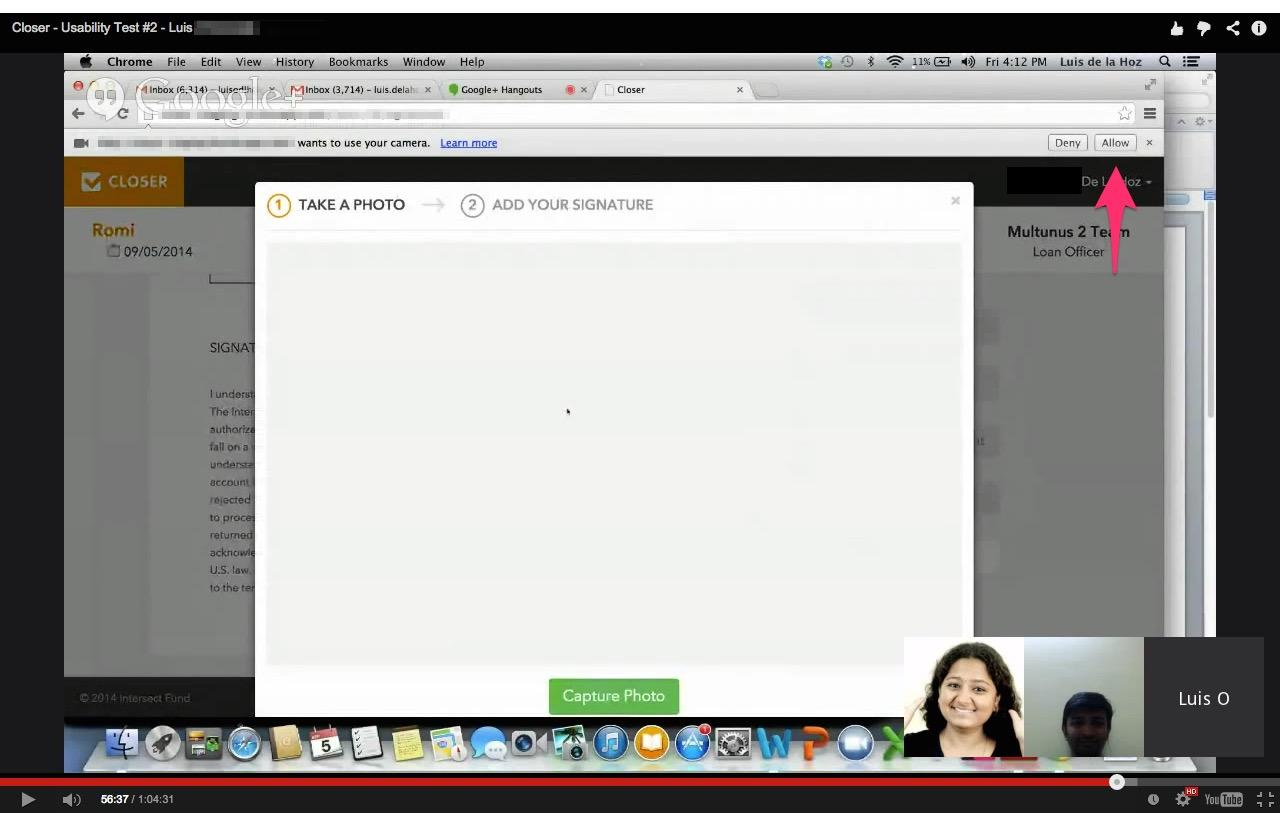 webcam permission - chrome browser