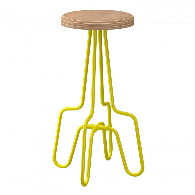 banqueta amarela madeira aço metal