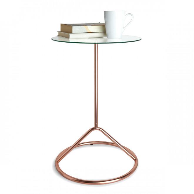 Mesa lateral em aço na cor cobre