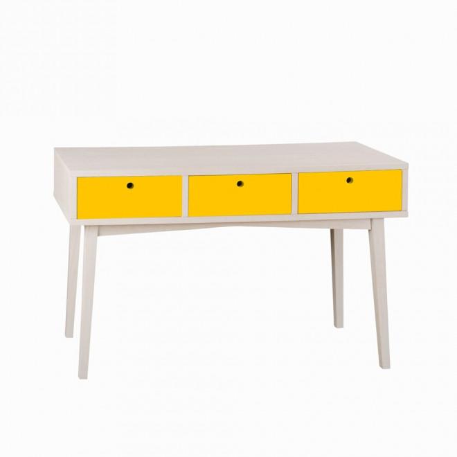 aparador vintage amarelo e branco