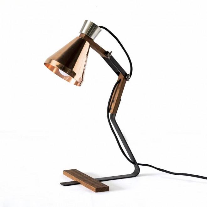 luminaria de mesa em cobre