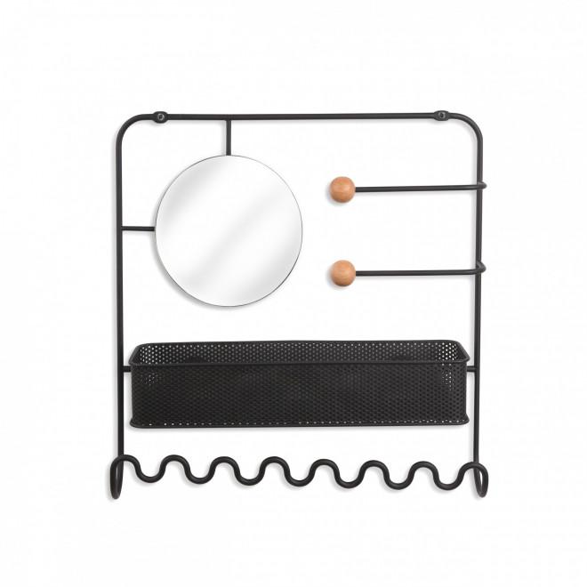 organizador de parede para objetos e espelho preto
