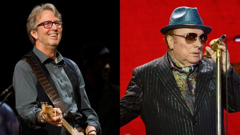 Na imagem, uma montagem com Eric Clapton, do lado direito, olhando sorridente para o público, de óculos de grau e tocando guitarra. E do lado esquerdo, Van Morrison, de óculos escuros, chapéu e terno preto, segurando um microfone dourado e sério.