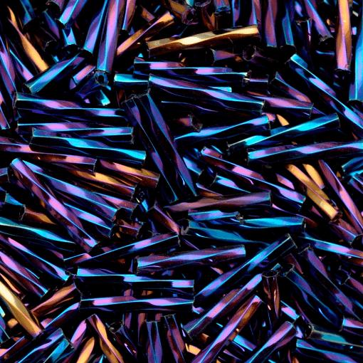 Canutilho de Vidro Preciosa®Ornela/Jablonex Azul Metálico Torcido (59135) 20mm