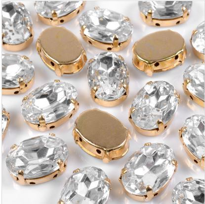 Engrampado Dourado Oval Cristal 18x13mm-72pcs