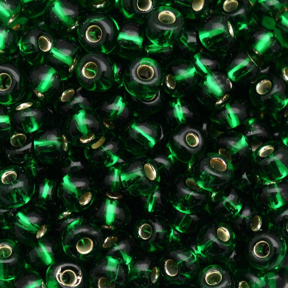 Miçanga Transparente Preciosa Verde 9/0=2,6mm 500g