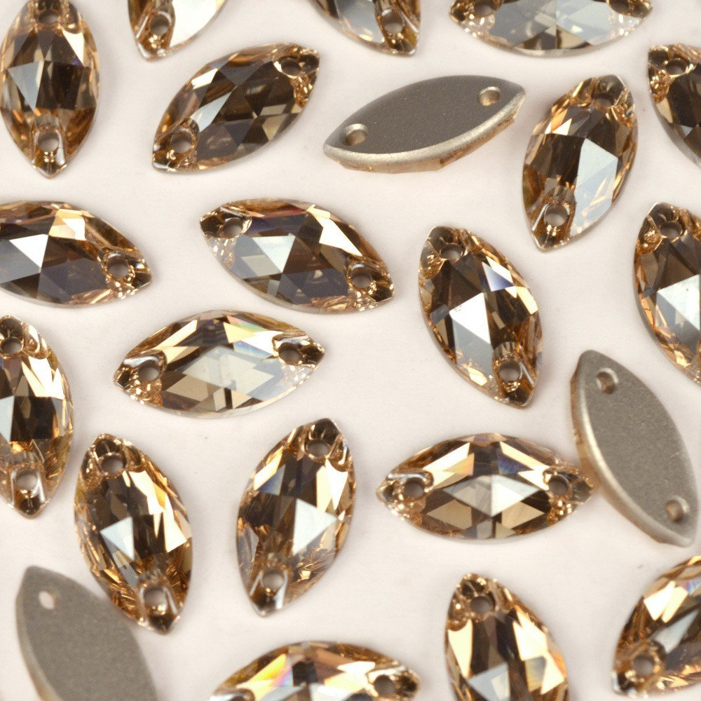 Navete Costura 2 Furos Preciosa Crystal Honey 12x6mm 96pcs