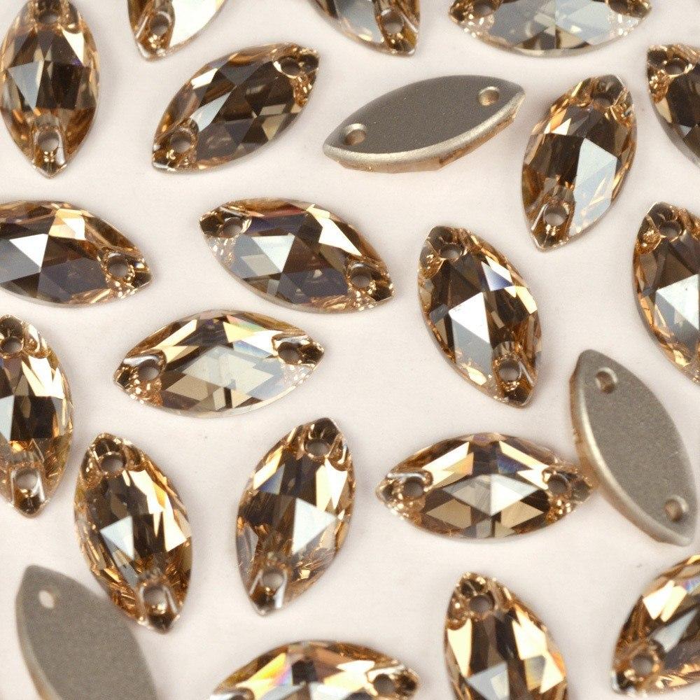 Navete Costura 2 Furos Preciosa Crystal Honey 12x6mm 96pcs